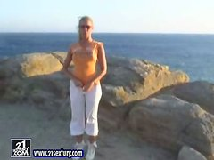 Topless Sunbathing in Greece with Blonde Beauty Sandy