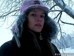 Hot pornstar takes us out for a walk in the snow