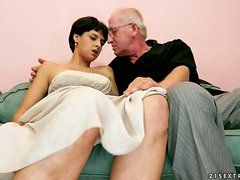 Willing Short-Haired Brunette Coco de Mal Fucked by Old Penis
