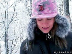 Cute pornstar takes us out for some fun in the snow