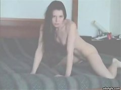 Crazy brunette fucks with an invisible man.