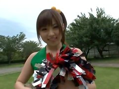 Kinky Asian cheerleader having pussy fun with toys