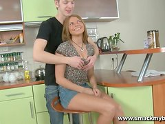 Aggressive sex with a teen hottie mad for meat