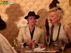 Hot orgy party with students in retro style clothing