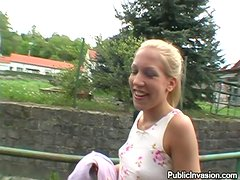 Blonde Czech teen girl gives a blowjob in the street