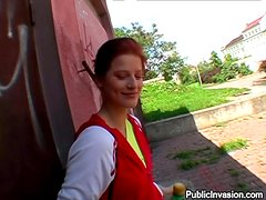 Rosses the redhead cutie gets laid in a public place
