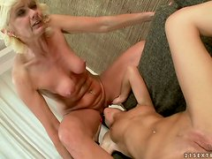 Restless and Horny Granny Having Sex with a Dazzling Lesbian Teen
