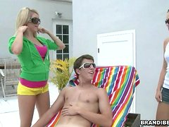 Three Horny Teens Spot A Guy Sunbathing & Try His Tool