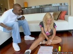 Sweet Alyssa Jordan gets pounded hard by Black dude