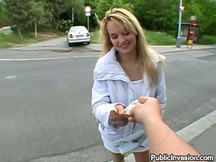 Misty the cute blonde gives great POV blowjob outdoors