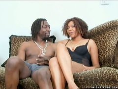 Mature Ebony Tengie Sweet Sucks and Gets Fucked by a Big Black Cock