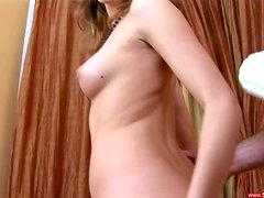 Cute cocksucker works hard for her man's meat