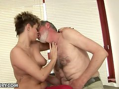 Old Man Fucking a Short-Haired Babe's Shaved Pussy