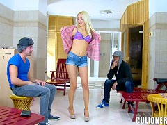 Blonde Russian Girl Gets Fucked By Two Horny Guys