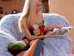 Sexy blonde teen pleasures herself all alone