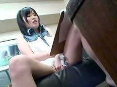 Japanese cutie shows her snatch to an old guy and lets him play with it