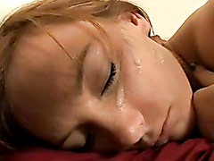 Dani Jensen recieves a morning present on her cute face