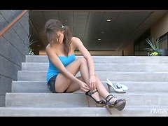 Sweet Malena makes a hot naked show in the empty mall