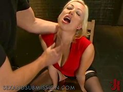Busty blonde spanked and made to blowjob