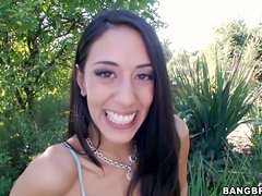 Naughty Lyla Storm gives hot blowjob in a backyard