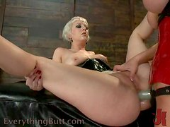 Two horny girls in latex get fucked in ass