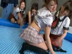 Japanese Schoolgirls In Kinky Oiled Up Sex Game