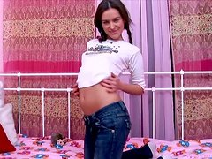 Dark Haired Doll Plays With Her Gash All Alone