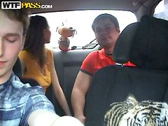 Busty & Horny Teen Gives Some Head In The Back Seat