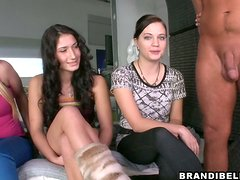 A Trio Of Hot Teens Learning How To Suck Cock Properly