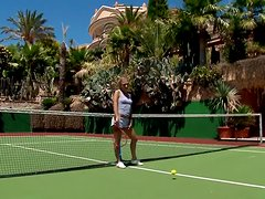 A Blonde Beaut Plays With Herself After Playing Tennis