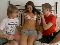A Trio Of Timid Teen Buddies Try Their First Threesome