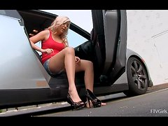Sexy car goes further with a girl in sexy shorts and no underwear.