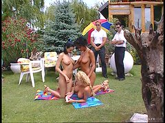 Three Big Breasted Babes Fucking Two Guys Outdoors