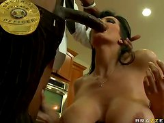 Mature Babe Bribes Black Cop By Taking His Cock For a Ride