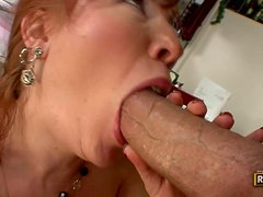 Mature Redhead Finds The Cooks Big Meat Tube
