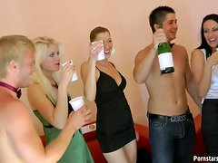 A Bunch Of Drunk Girls Fuck With Two Dudes In Crazy Group Sex Party