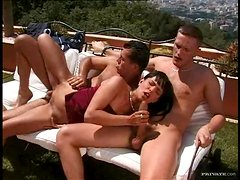 Anal Sex and Double Penetration Outdoors Threesome On The Terrace