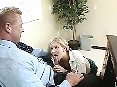 Blonde honey Daryn Darby takes a beefy cock and plays with it in her hands