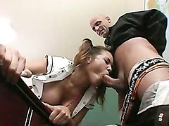 Highschool babe Renae Cruz takes a massive cock gliding in her warm mouth