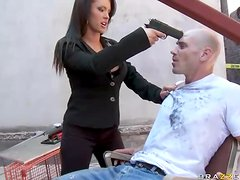 Brunette Babe Threatens To Shoot Guy If He Doesn´t Give Her Cock