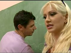 Blonde Teacher Leah Lush Having Anal Sex and DP with Two Students