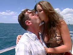 Gorgeous babe With Big Natural Tits Gets Her Cunt Fucked On A Boat