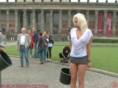 Fucking a Hot Tied Up Blonde Outdoors After a Public Disgrace