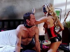 Blonde Dominatrix Jessica Drake Handjobs for Cum after Anal Sex