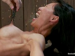 Tia Ling screams wildly while being tormented in BDSM scene