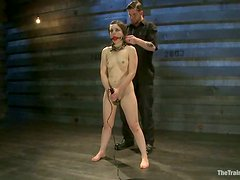 Juliette March gets her pussy toyed in a basement and likes it