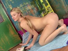 Naughty Blonde Teen Plays With Herself