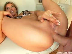 Threesome Action with a Blonde Slut