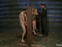 Blonde with big boobs gets humiliated in bdsm porn