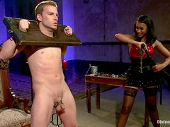 Horny Mistress Masturbates On Top Of Her Tied Up Servant